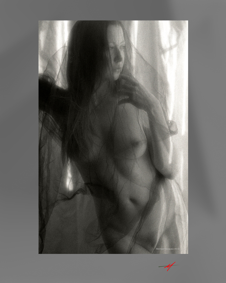Nude woman, Black Material, Past, Future, Contemplating.