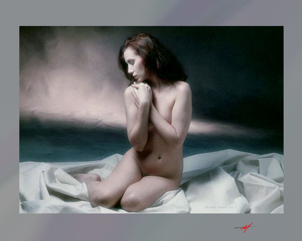 Female model, nude, tasteful, sitting on a mulin fabric against a cloud patteren backdrop.
