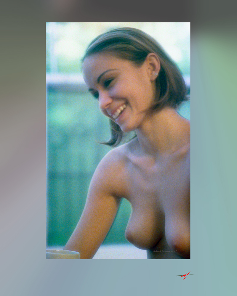 Young model, topless window in background, smiling.