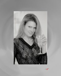 Spideer blouse, young model, class of champagne, toast blond, black and white, see through blouse.