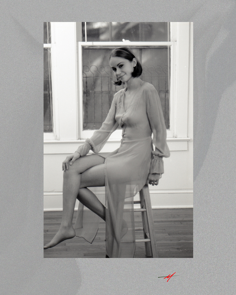 Young, model, transpant dress, home stuido, sitting stool