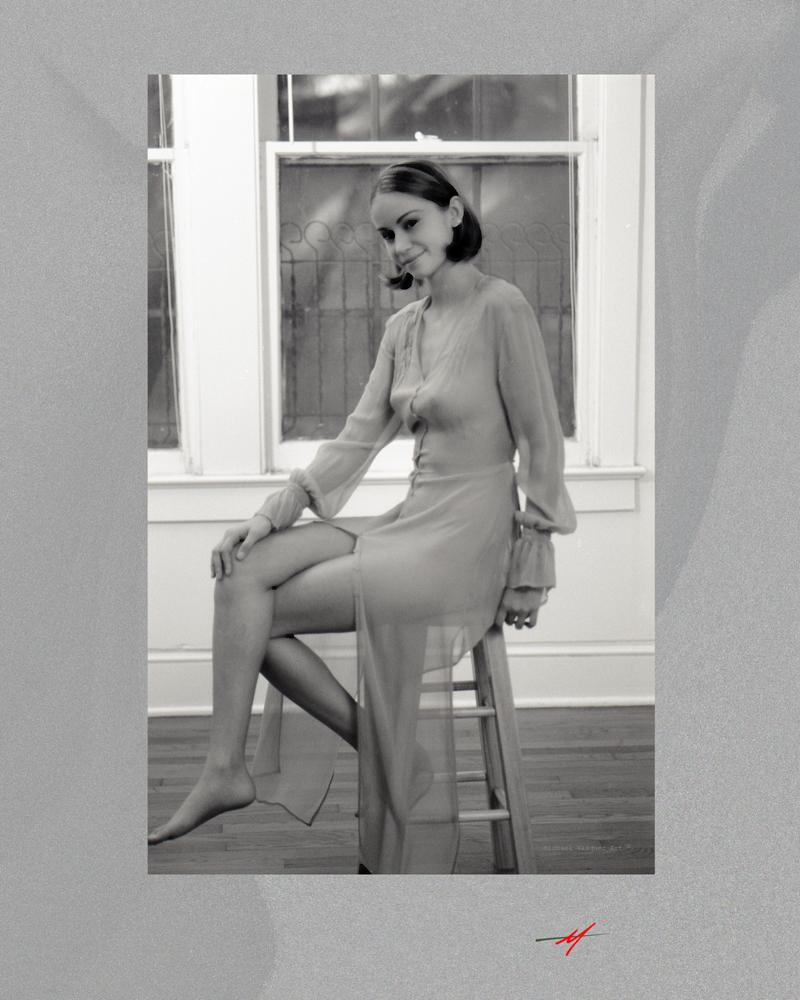 Young, model, transpant dress, home stuido, sitting stool