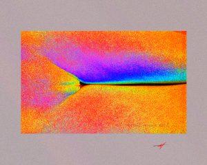Colorful image, female pubis and legs, vibrant colors, Michael Vasquez Art.
