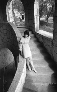 Old San Antino Old San Antonio. old building, Late 68, girl black hair, period dress, staircase.