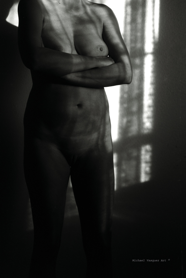Black and White image, young woman's torso , neck to knees in shadow and light